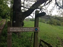 Sign at the end of bridleway